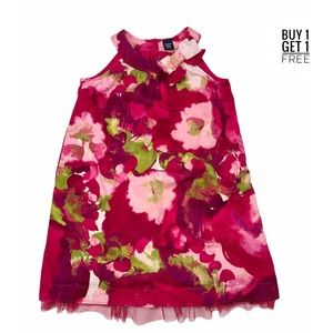 Baby Gap Girls Raspberry Floral Net Hem Dress 4T